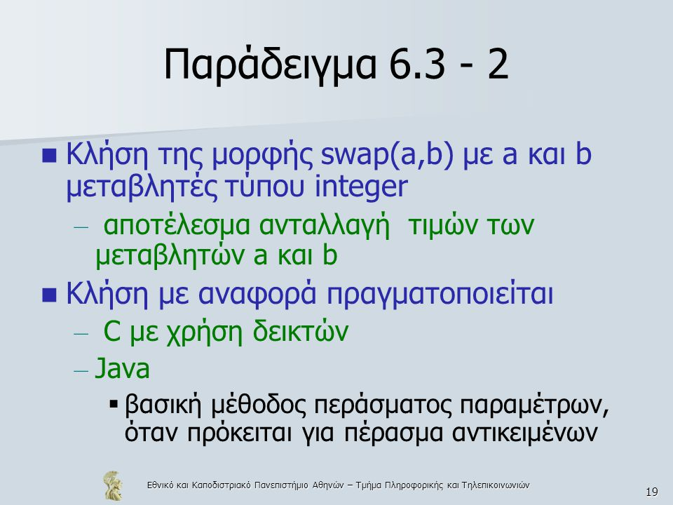 Εθνικό και Καποδιστριακό Πανεπιστήμιο Αθηνών – Τμήμα Πληροφορικής και Τηλεπικοινωνιών 19 Παράδειγμα 6.3 - 2  Κλήση της μορφής swap(a,b) με a και b μεταβλητές τύπου integer – αποτέλεσμα ανταλλαγή τιμών των μεταβλητών a και b  Κλήση με αναφορά πραγματοποιείται – C με χρήση δεικτών – Java  βασική μέθοδος περάσματος παραμέτρων, όταν πρόκειται για πέρασμα αντικειμένων