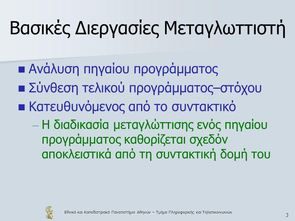 Εθνικό και Καποδιστριακό Πανεπιστήμιο Αθηνών – Τμήμα Πληροφορικής και Τηλεπικοινωνιών 3 Βασικές Διεργασίες Μεταγλωττιστή  Ανάλυση πηγαίου προγράμματος  Σύνθεση τελικού προγράμματος–στόχου  Κατευθυνόμενος από το συντακτικό – Η διαδικασία μεταγλώττισης ενός πηγαίου προγράμματος καθορίζεται σχεδόν αποκλειστικά από τη συντακτική δομή του