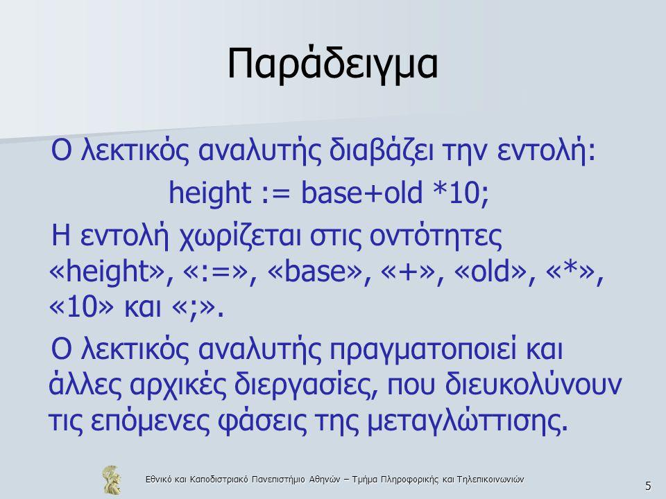 Εθνικό και Καποδιστριακό Πανεπιστήμιο Αθηνών – Τμήμα Πληροφορικής και Τηλεπικοινωνιών 5 Παράδειγμα Ο λεκτικός αναλυτής διαβάζει την εντολή: height := base+old *10; Η εντολή χωρίζεται στις οντότητες «height», «:=», «base», «+», «old», «*», «10» και «;».