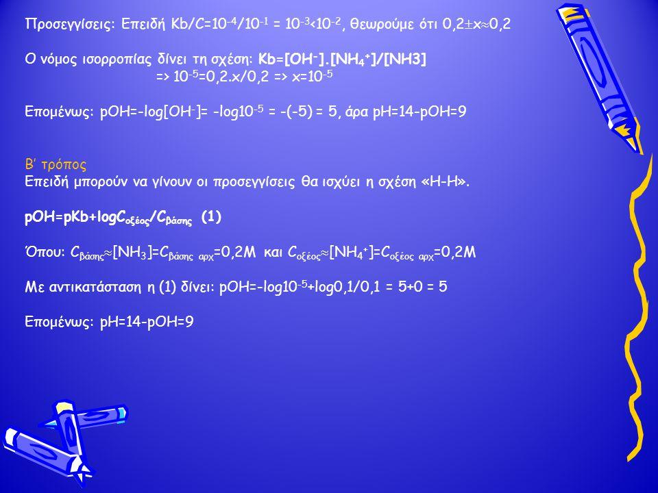 Προσεγγίσεις: Επειδή Kb/C=10 -4 /10 -1 = 10 -3 <10 -2, θεωρούμε ότι 0,2  x  0,2 O νόμος ισορροπίας δίνει τη σχέση: Kb=[OH - ].[NH 4 + ]/[NH3] => 10