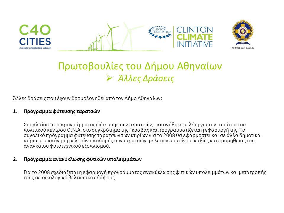 Πρωτοβουλίες του Δήμου Αθηναίων  Άλλες Δράσεις Άλλες δράσεις που έχουν δρομολογηθεί από τον Δήμο Αθηναίων: 1.Πρόγραμμα φύτευσης ταρατσών Στο πλαίσιο του προγράμματος φύτευσης των ταρατσών, εκπονήθηκε μελέτη για την ταράτσα του πολιτικού κέντρου Ο.Ν.Α.