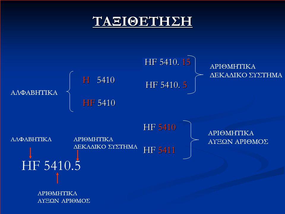 ΤΑΞΙΘΕΤΗΣΗ ΑΛΦΑΒΗΤΙΚΑ H 5410 HF 5410 HF 5411 ΑΡΙΘΜΗΤΙΚΑ ΑΥΞΩΝ ΑΡΙΘΜΟΣ HF 5410. 15 HF 5410. 15 HF 5410. 5 ΑΡΙΘΜΗΤΙΚΑ ΔΕΚΑΔΙΚΟ ΣΥΣΤΗΜΑ HF 5410.5 ΑΛΦΑΒΗΤ