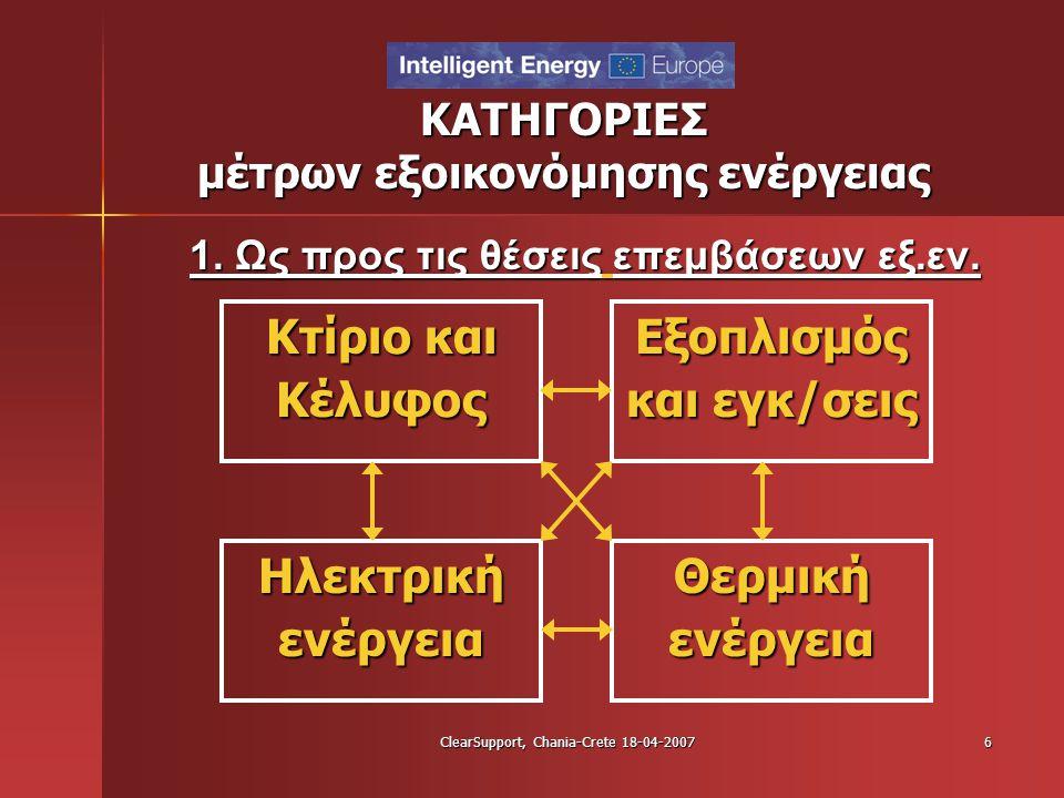 ClearSupport, Chania-Crete 18-04-20076 ΚΑΤΗΓΟΡΙΕΣ μέτρων εξοικονόμησης ενέργειας 1. Ως προς τις θέσεις επεμβάσεων εξ.εν. Κτίριο και Κέλυφος Εξοπλισμός