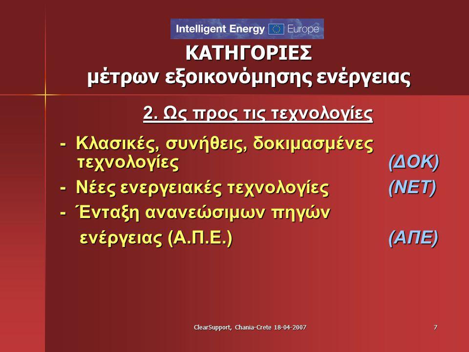 ClearSupport, Chania-Crete 18-04-20077 ΚΑΤΗΓΟΡΙΕΣ μέτρων εξοικονόμησης ενέργειας 2. Ως προς τις τεχνολογίες - Κλασικές, συνήθεις, δοκιμασμένες τεχνολο