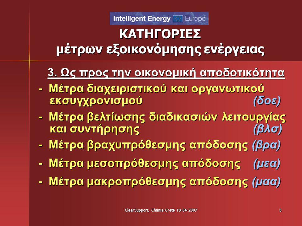 ClearSupport, Chania-Crete 18-04-20078 ΚΑΤΗΓΟΡΙΕΣ μέτρων εξοικονόμησης ενέργειας 3. Ως προς την οικονομική αποδοτικότητα - Μέτρα διαχειριστικού και ορ