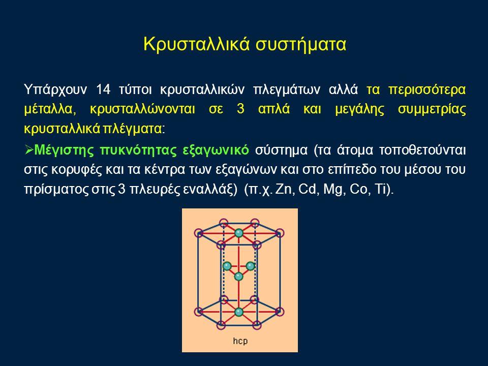 Υπάρχουν 14 τύποι κρυσταλλικών πλεγμάτων αλλά τα περισσότερα μέταλλα, κρυσταλλώνονται σε 3 απλά και μεγάλης συμμετρίας κρυσταλλικά πλέγματα:  Μέγιστης πυκνότητας εξαγωνικό σύστημα (τα άτομα τοποθετούνται στις κορυφές και τα κέντρα των εξαγώνων και στο επίπεδο του μέσου του πρίσματος στις 3 πλευρές εναλλάξ) (π.χ.