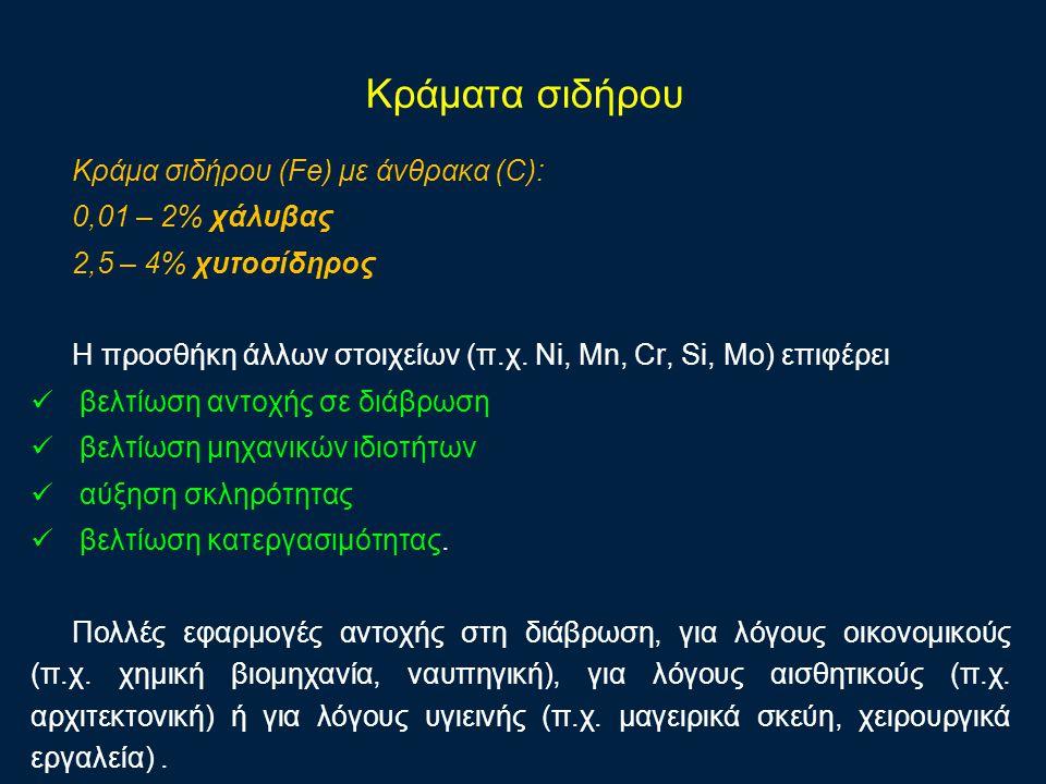 Κράματα σιδήρου Κράμα σιδήρου (Fe) με άνθρακα (C): 0,01 – 2% χάλυβας 2,5 – 4% χυτοσίδηρος Η προσθήκη άλλων στοιχείων (π.χ. Ni, Mn, Cr, Si, Mo) επιφέρε