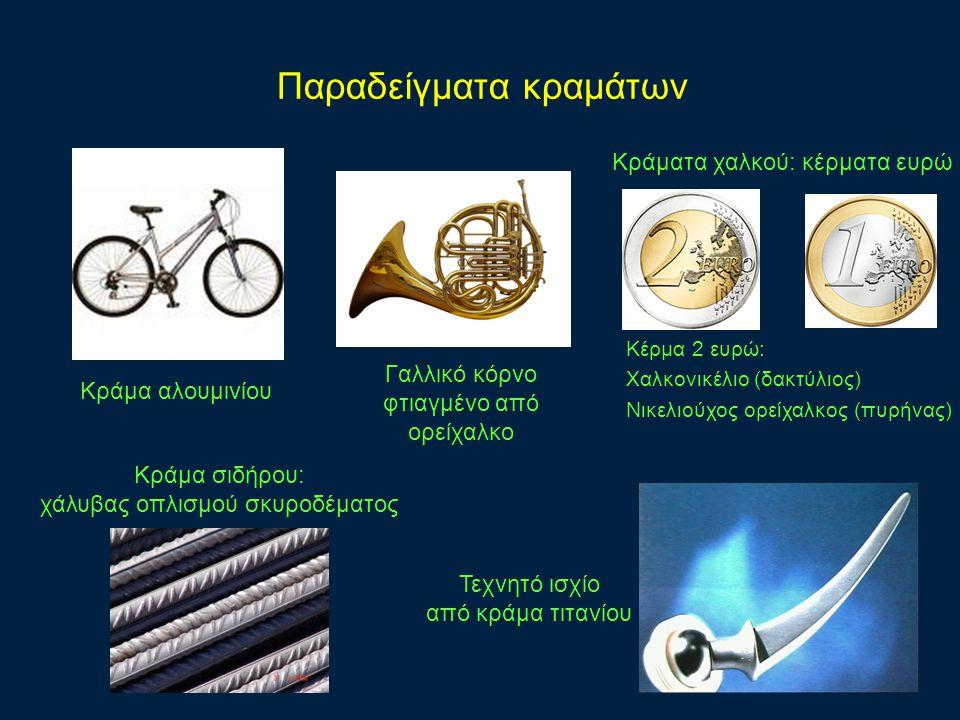 Παραδείγματα κραμάτων Κράματα χαλκού: κέρματα ευρώ Κέρμα 2 ευρώ: Χαλκονικέλιο (δακτύλιος) Νικελιούχος ορείχαλκος (πυρήνας) Κράμα αλουμινίου Γαλλικό κόρνο φτιαγμένο από ορείχαλκο Κράμα σιδήρου: χάλυβας οπλισμού σκυροδέματος Τεχνητό ισχίο από κράμα τιτανίου