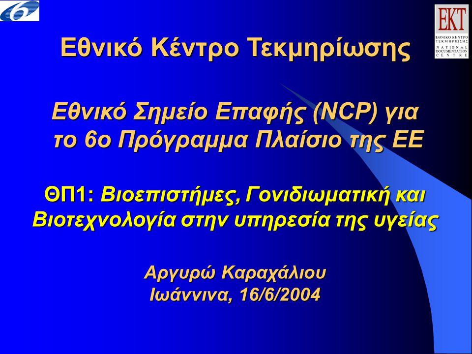Εθνικό Κέντρο Τεκμηρίωσης Εθνικό Σημείο Επαφής (NCP) για το 6ο Πρόγραμμα Πλαίσιο της ΕΕ ΘΠ1: Βιοεπιστήμες, Γονιδιωματική και Βιοτεχνολογία στην υπηρεσία της υγείας Αργυρώ Καραχάλιου Ιωάννινα, 16/6/2004