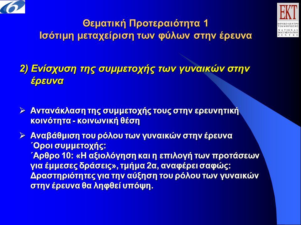 Θεματική Προτεραιότητα 1 Ισότιμη μεταχείριση των φύλων στην έρευνα 2) Ενίσχυση της συμμετοχής των γυναικών στην έρευνα  Αντανάκλαση της συμμετοχής τους στην ερευνητική κοινότητα - κοινωνική θέση  Αναβάθμιση του ρόλου των γυναικών στην έρευνα ΄Οροι συμμετοχής: ΄Αρθρο 10: «Η αξιολόγηση και η επιλογή των προτάσεων για έμμεσες δράσεις», τμήμα 2α, αναφέρει σαφώς: Δραστηριότητες για την αύξηση του ρόλου των γυναικών στην έρευνα θα ληφθεί υπόψη.