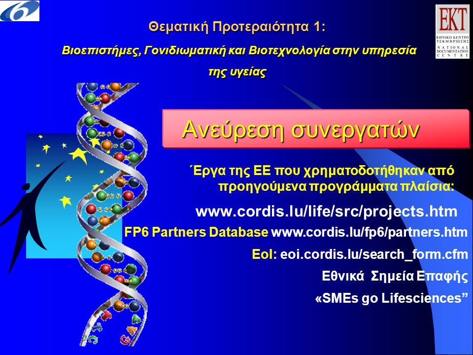 www.cordis.lu/life/src/projects.htm ΄Εργα της ΕΕ που χρηματοδοτήθηκαν από προηγούμενα προγράμματα πλαίσια: Ανεύρεση συνεργατών Θεματική Προτεραιότητα 1: Βιοεπιστήμες, Γονιδιωματική και Βιοτεχνολογία στην υπηρεσία της υγείας FP6 Partners Database www.cordis.lu/fp6/partners.htm EoI: eoi.cordis.lu/search_form.cfm Εθνικά Σημεία Επαφής «SMEs go Lifesciences