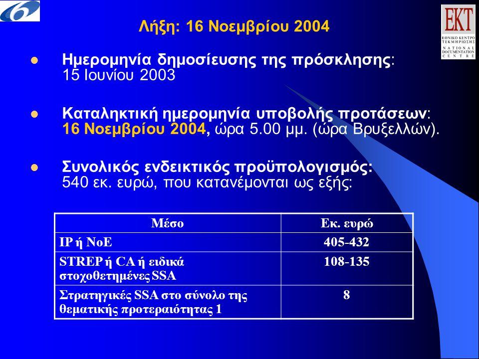  Ημερομηνία δημοσίευσης της πρόσκλησης: 15 Ιουνίου 2003  Καταληκτική ημερομηνία υποβολής προτάσεων: 16 Νοεμβρίου 2004, ώρα 5.00 μμ.