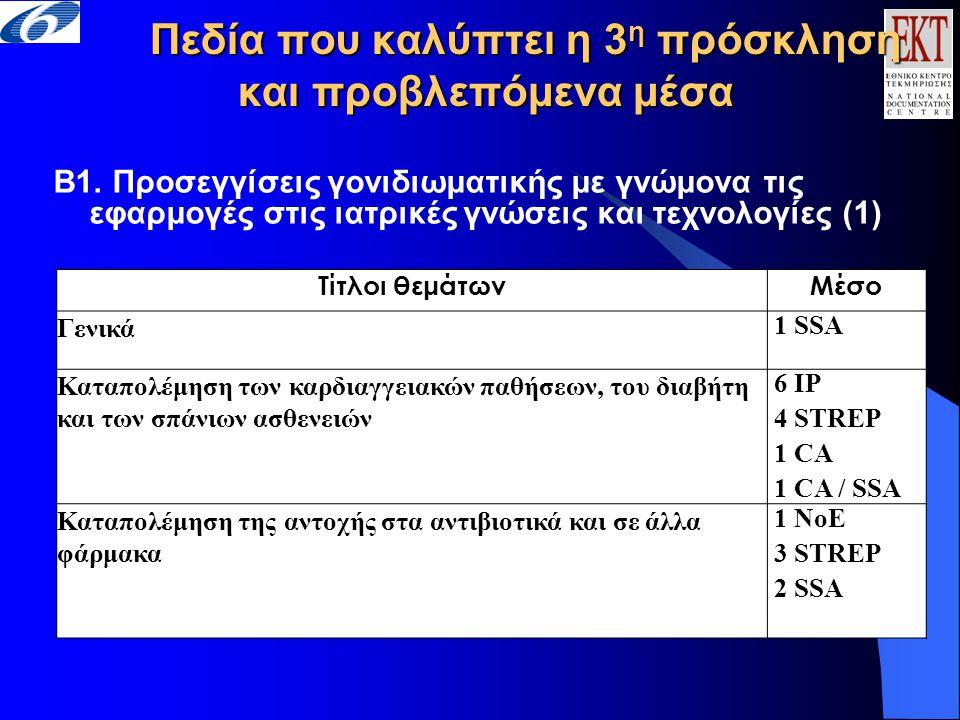 Πεδία που καλύπτει η 3 η πρόσκληση και προβλεπόμενα μέσα B1. Προσεγγίσεις γονιδιωματικής με γνώμονα τις εφαρμογές στις ιατρικές γνώσεις και τεχνολογίε