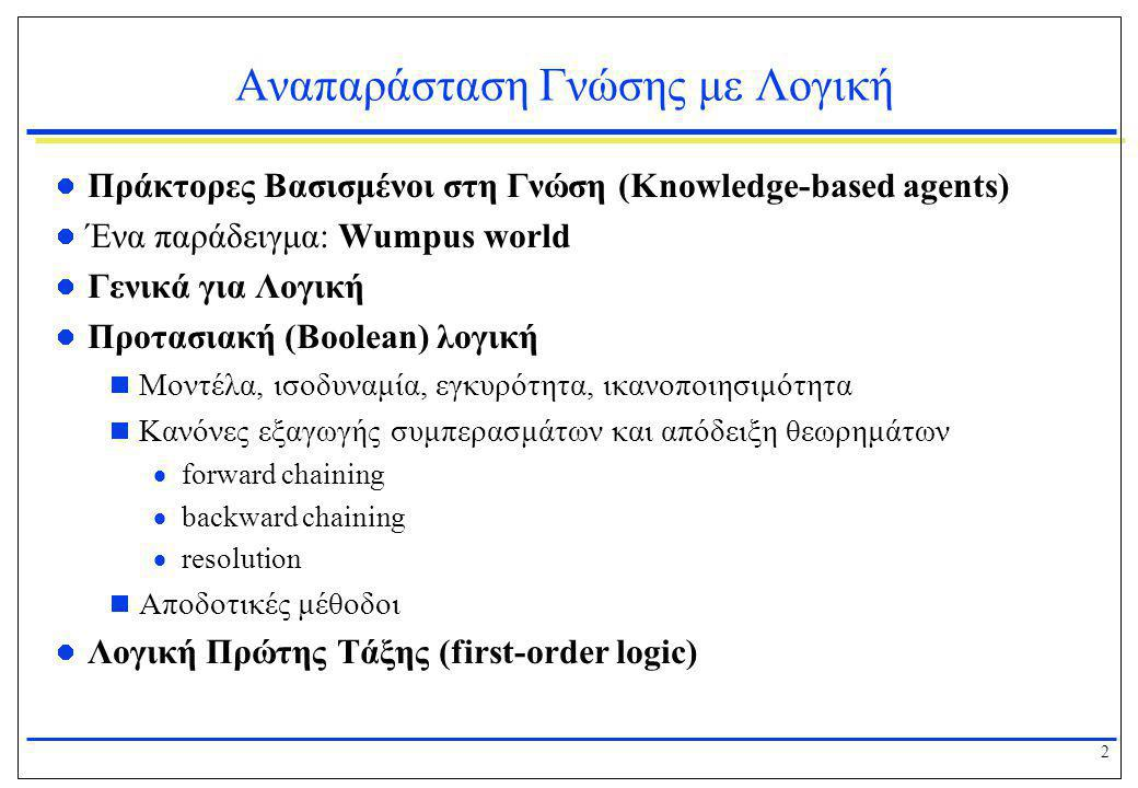 2 Αναπαράσταση Γνώσης με Λογική  Πράκτορες Βασισμένοι στη Γνώση (Knowledge-based agents)  Ένα παράδειγμα: Wumpus world  Γενικά για Λογική  Προτασι