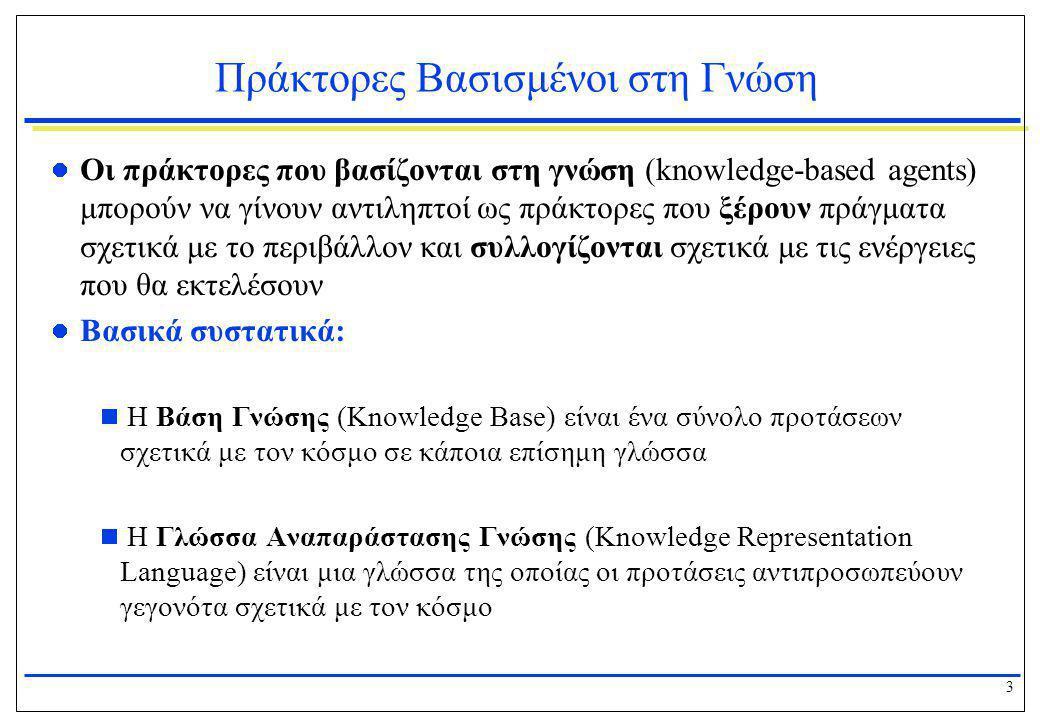 3 Πράκτορες Βασισμένοι στη Γνώση  Οι πράκτορες που βασίζονται στη γνώση (knowledge-based agents) μπορούν να γίνουν αντιληπτοί ως πράκτορες που ξέρουν