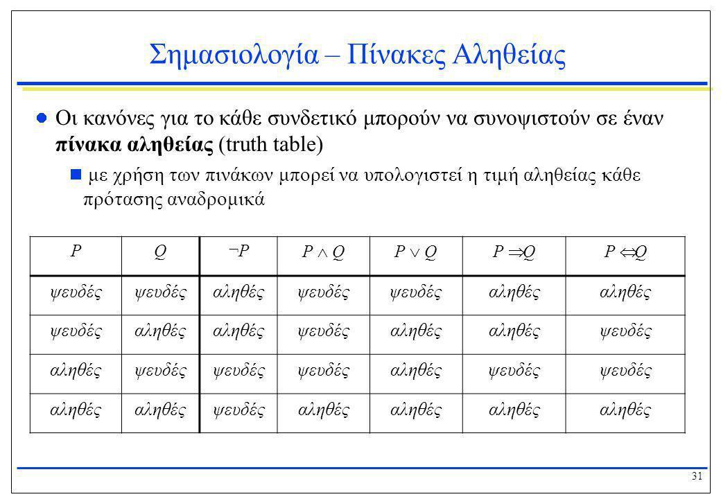 31 Σημασιολογία – Πίνακες Αληθείας  Οι κανόνες για το κάθε συνδετικό μπορούν να συνοψιστούν σε έναν πίνακα αληθείας (truth table)  με χρήση των πινά