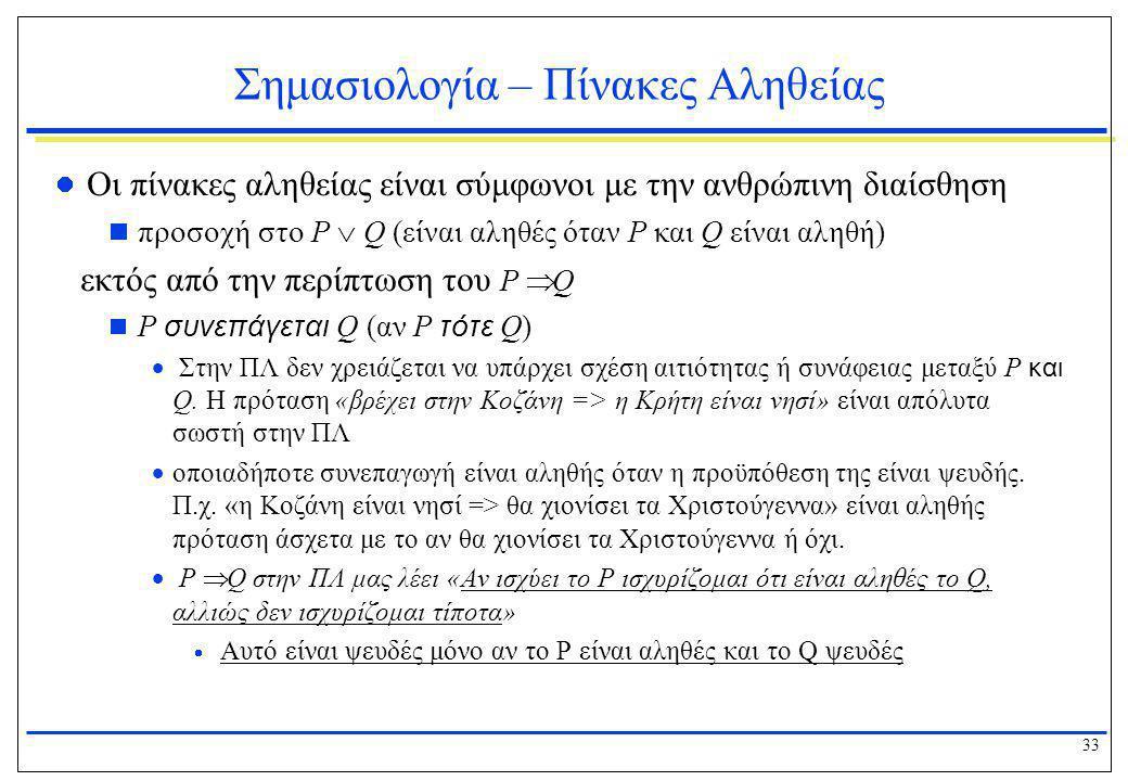 33 Σημασιολογία – Πίνακες Αληθείας  Οι πίνακες αληθείας είναι σύμφωνοι με την ανθρώπινη διαίσθηση  προσοχή στο P  Q (είναι αληθές όταν P και Q είνα