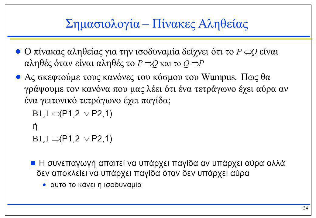 34 Σημασιολογία – Πίνακες Αληθείας  Ο πίνακας αληθείας για την ισοδυναμία δείχνει ότι το P  Q είναι αληθές όταν είναι αληθές το P  Q και το Q  P 