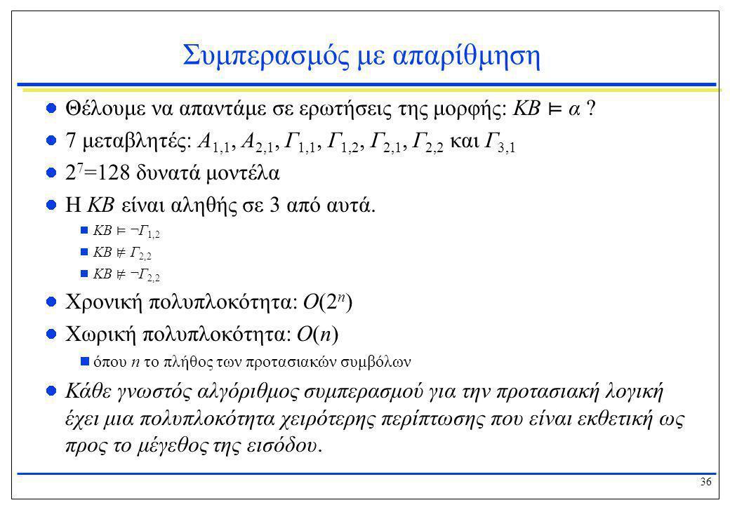 36 Συμπερασμός με απαρίθμηση  Θέλουμε να απαντάμε σε ερωτήσεις της μορφής: KB ⊨ α ?  7 μεταβλητές: Α 1,1, Α 2,1, Γ 1,1, Γ 1,2, Γ 2,1, Γ 2,2 και Γ 3,