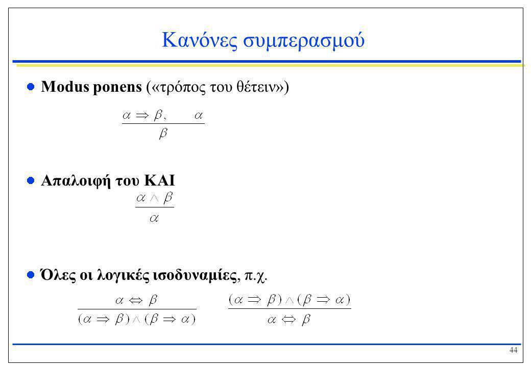 44 Κανόνες συμπερασμού  Modus ponens («τρόπος του θέτειν»)  Απαλοιφή του ΚΑΙ  Όλες οι λογικές ισοδυναμίες, π.χ.
