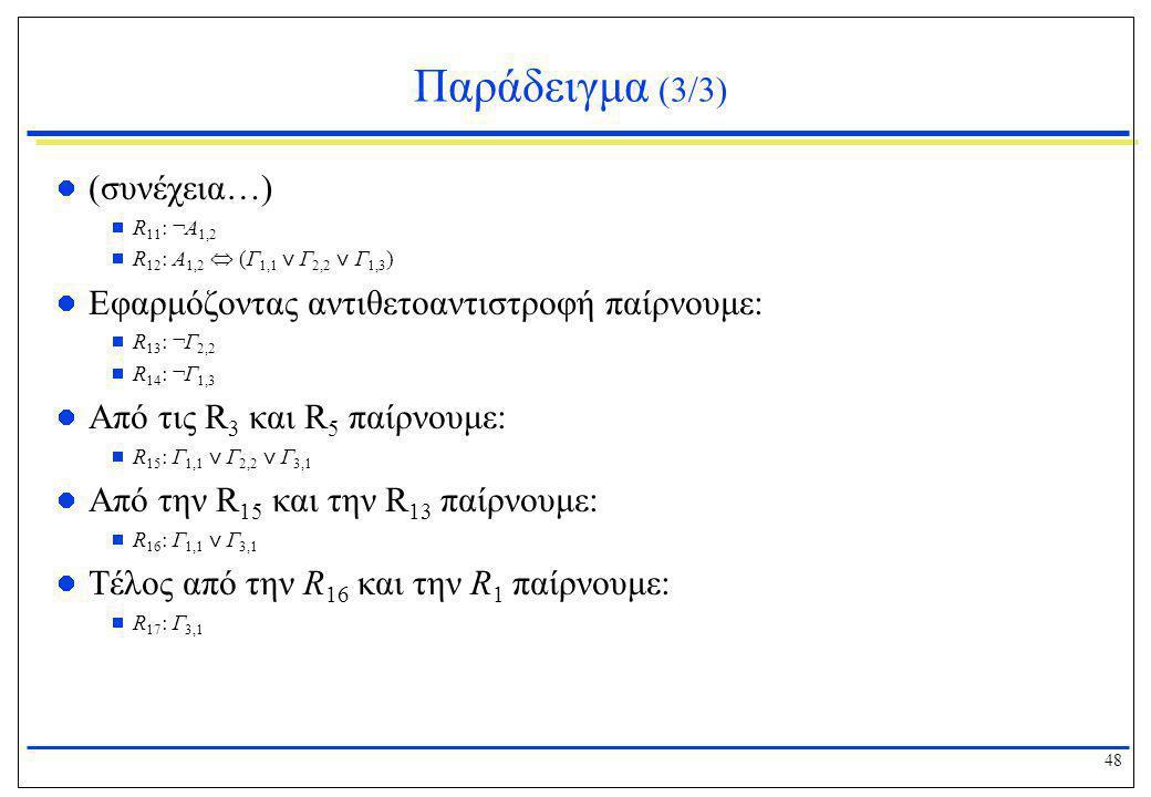 48 Παράδειγμα (3/3)  (συνέχεια…)  R 11 : ¬Α 1,2  R 12 : Α 1,2  (Γ 1,1 ⋁ Γ 2,2 ⋁ Γ 1,3 )  Εφαρμόζοντας αντιθετοαντιστροφή παίρνουμε:  R 13 : ¬Γ 2