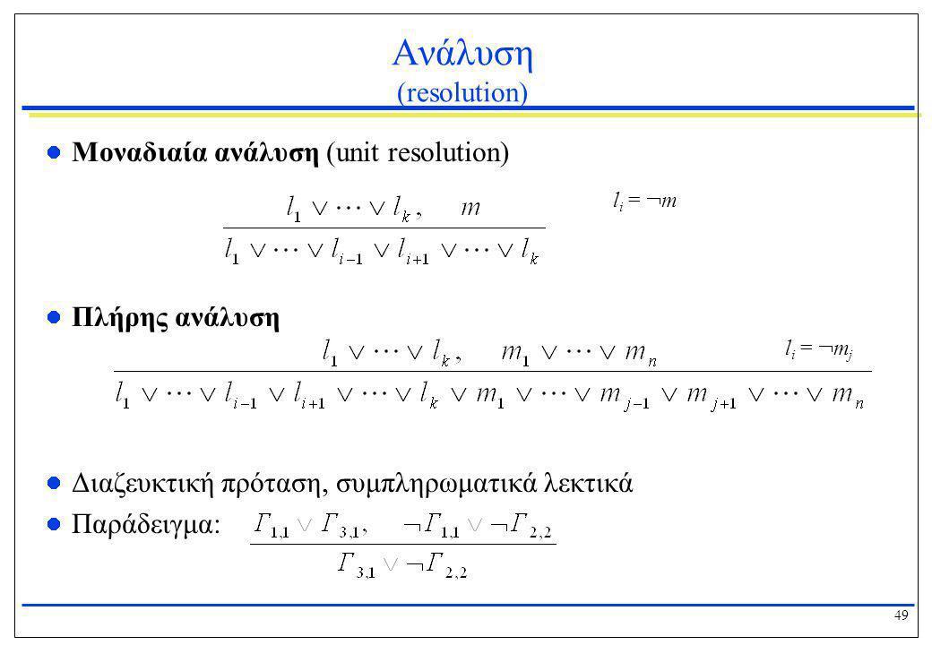 49 Ανάλυση (resolution)  Μοναδιαία ανάλυση (unit resolution)  Πλήρης ανάλυση  Διαζευκτική πρόταση, συμπληρωματικά λεκτικά  Παράδειγμα: l i =  m l