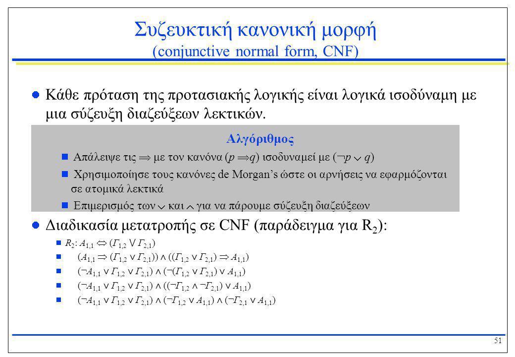 51 Συζευκτική κανονική μορφή (conjunctive normal form, CNF)  Κάθε πρόταση της προτασιακής λογικής είναι λογικά ισοδύναμη με μια σύζευξη διαζεύξεων λε