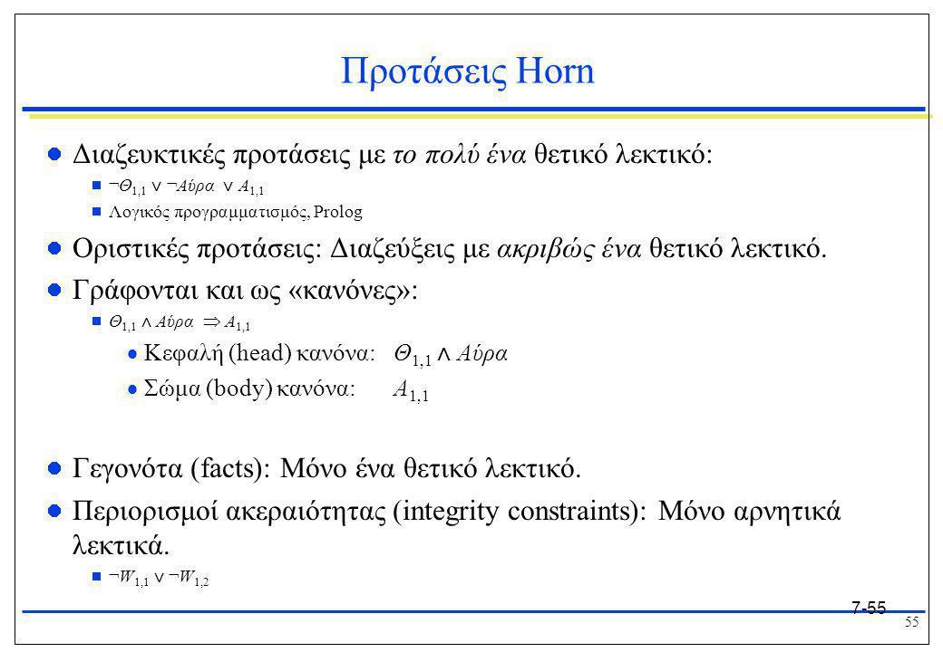 55 7-55 Προτάσεις Horn  Διαζευκτικές προτάσεις με το πολύ ένα θετικό λεκτικό:  ¬Θ 1,1 ⋁ ¬Αύρα ⋁ Α 1,1  Λογικός προγραμματισμός, Prolog  Οριστικές