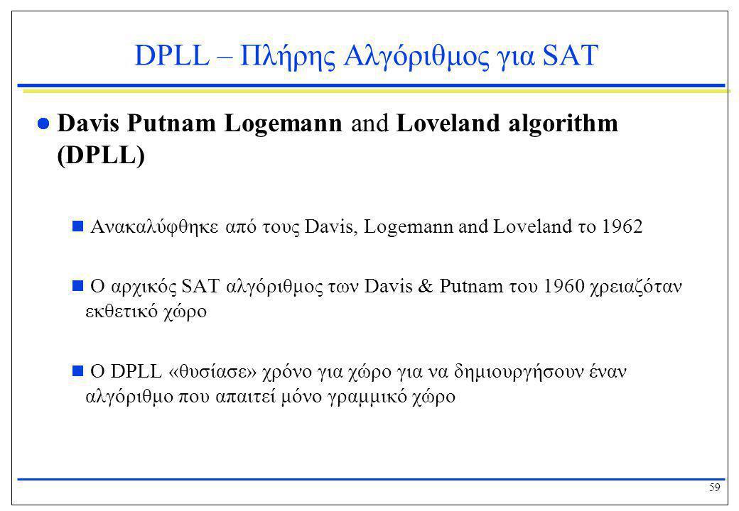 59 DPLL – Πλήρης Αλγόριθμος για SAT  Davis Putnam Logemann and Loveland algorithm (DPLL)  Ανακαλύφθηκε από τους Davis, Logemann and Loveland το 1962
