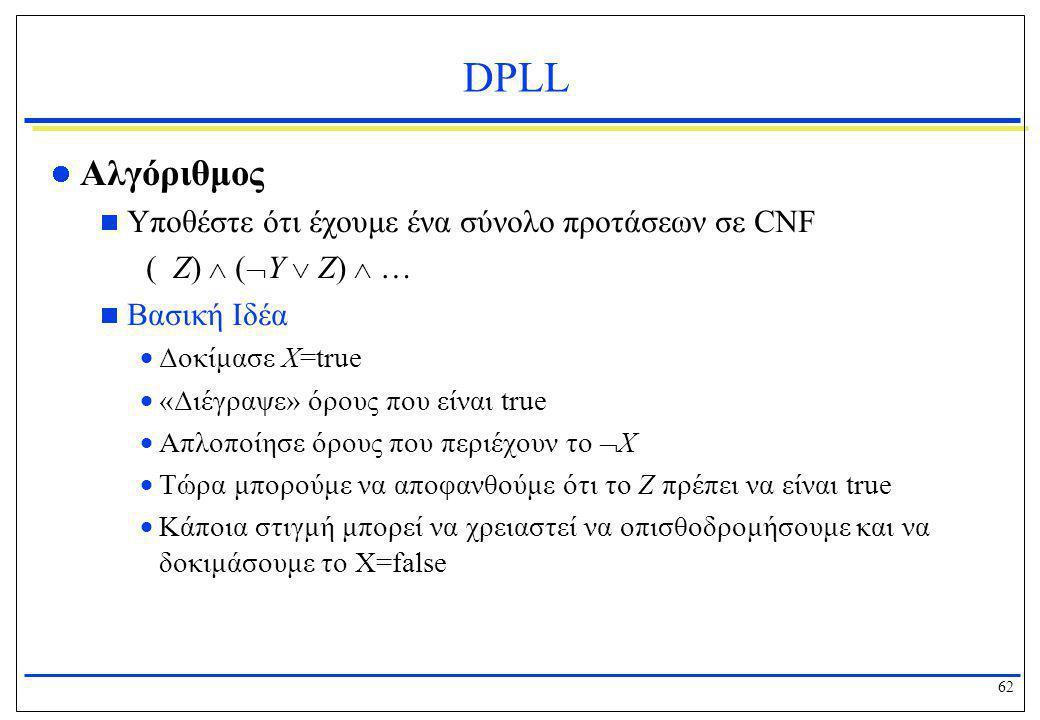 62 DPLL  Αλγόριθμος  Υποθέστε ότι έχουμε ένα σύνολο προτάσεων σε CNF ( Z)  (  Y  Z)  …  Βασική Ιδέα  Δοκίμασε X=true  «Διέγραψε» όρους που εί