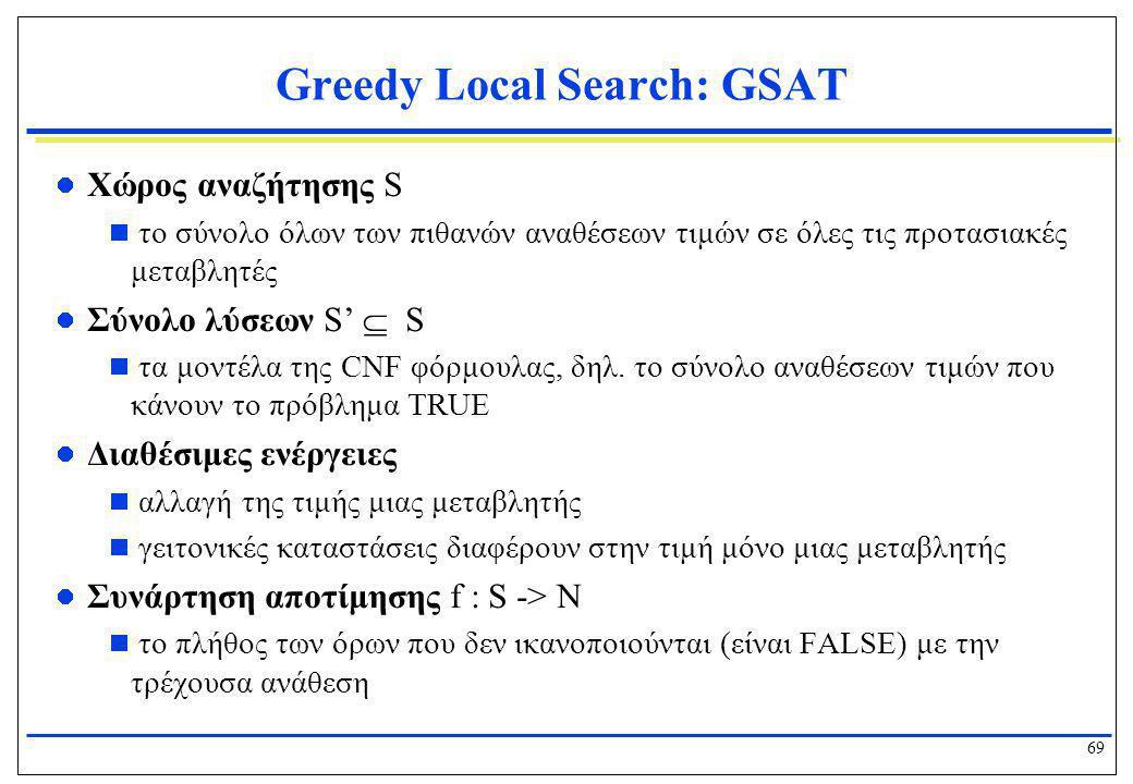 69 Greedy Local Search: GSAT  Χώρος αναζήτησης S  το σύνολο όλων των πιθανών αναθέσεων τιμών σε όλες τις προτασιακές μεταβλητές  Σύνολο λύσεων S' 