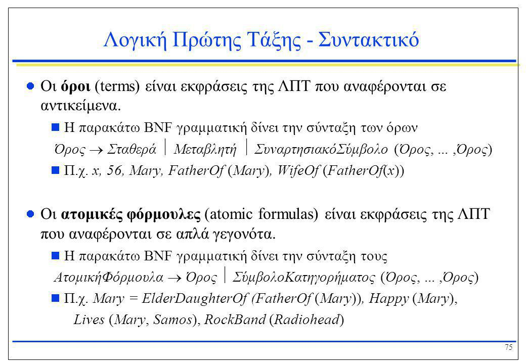 75 Λογική Πρώτης Τάξης - Συντακτικό  Οι όροι (terms) είναι εκφράσεις της ΛΠΤ που αναφέρονται σε αντικείμενα.  Η παρακάτω BNF γραμματική δίνει την σύ