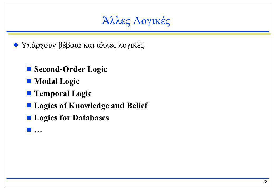 79 Άλλες Λογικές  Υπάρχουν βέβαια και άλλες λογικές:  Second-Order Logic  Modal Logic  Temporal Logic  Logics of Knowledge and Belief  Logics fo