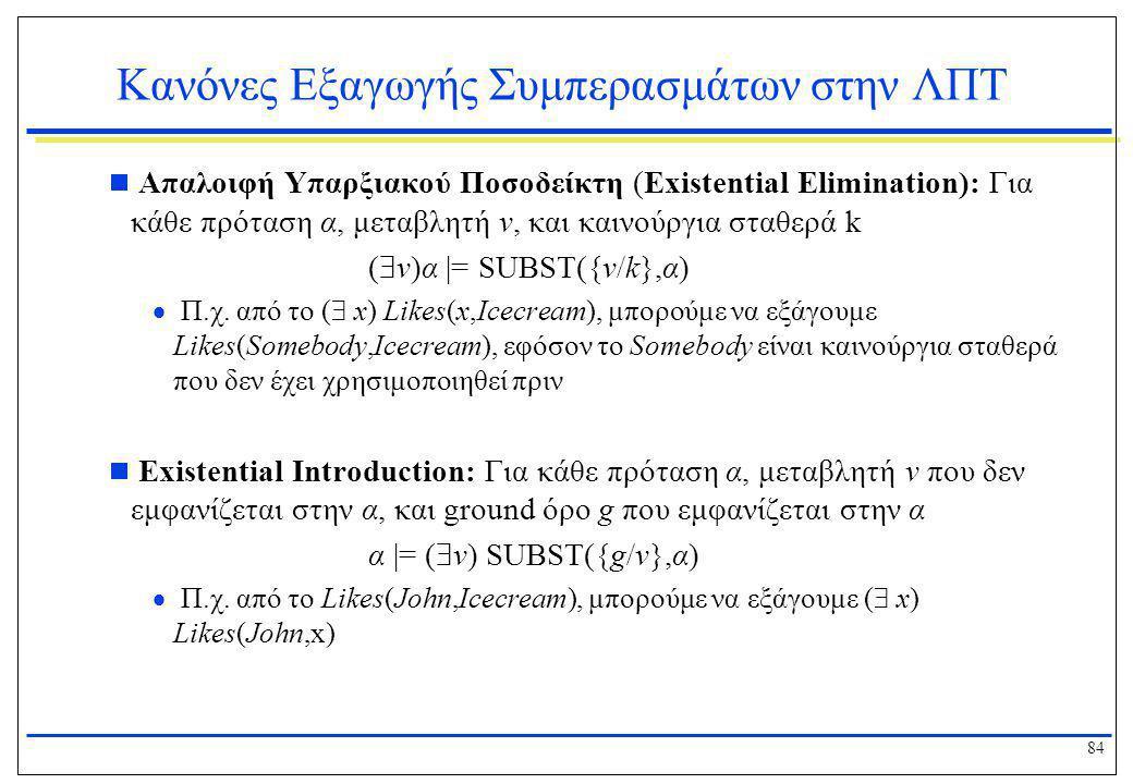 84 Κανόνες Εξαγωγής Συμπερασμάτων στην ΛΠΤ  Απαλοιφή Υπαρξιακού Ποσοδείκτη (Existential Elimination): Για κάθε πρόταση α, μεταβλητή v, και καινούργια