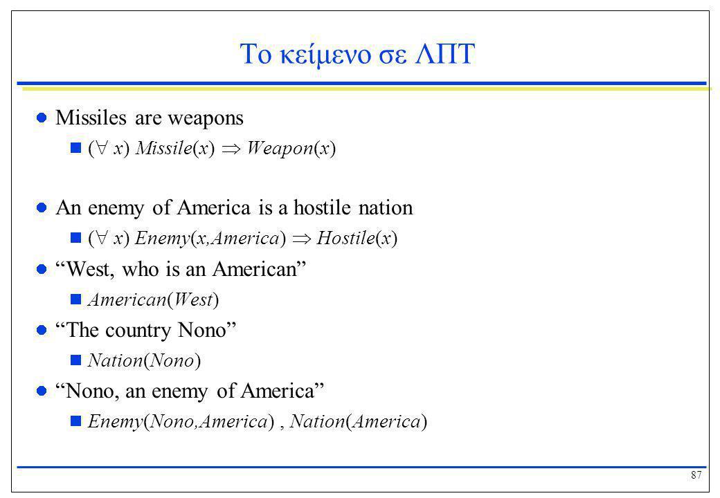 87 Το κείμενο σε ΛΠΤ  Missiles are weapons  (  x) Missile(x)  Weapon(x)  An enemy of America is a hostile nation  (  x) Enemy(x,America)  Host