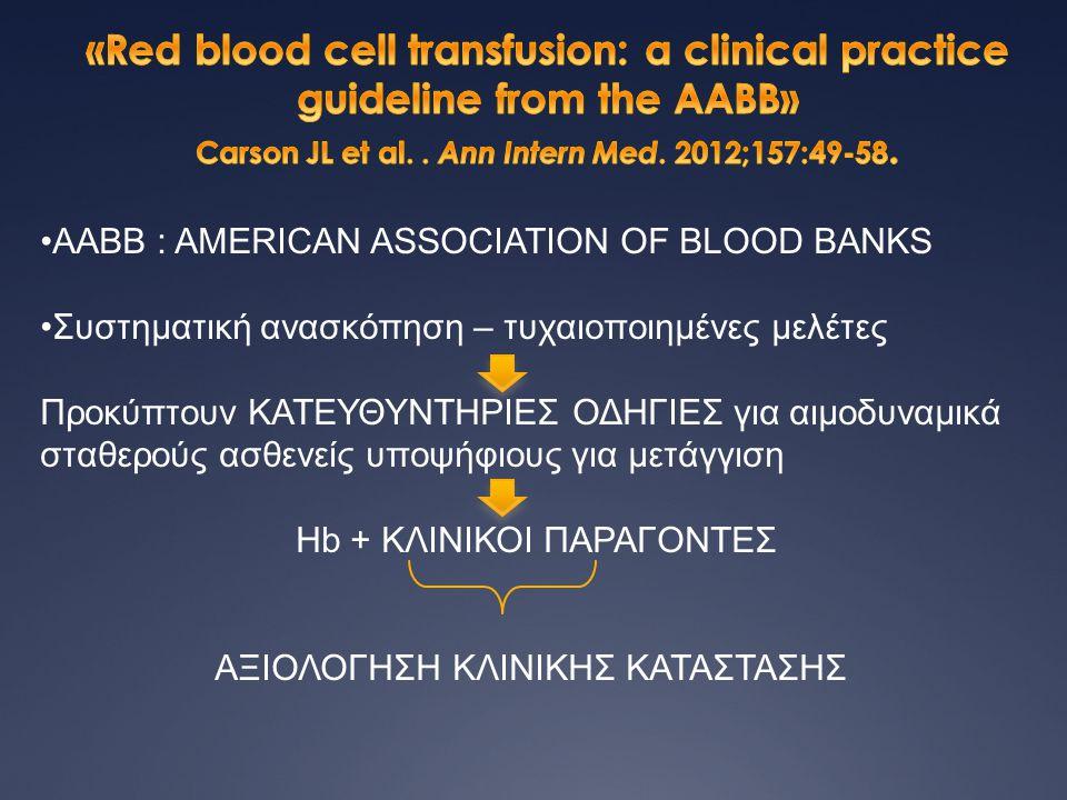 •AABB : AMERICAN ASSOCIATION OF BLΟOD BANKS •Συστηματική ανασκόπηση – τυχαιοποιημένες μελέτες Προκύπτουν ΚΑΤΕΥΘΥΝΤΗΡΙΕΣ ΟΔΗΓΙΕΣ για αιμοδυναμικά σταθε