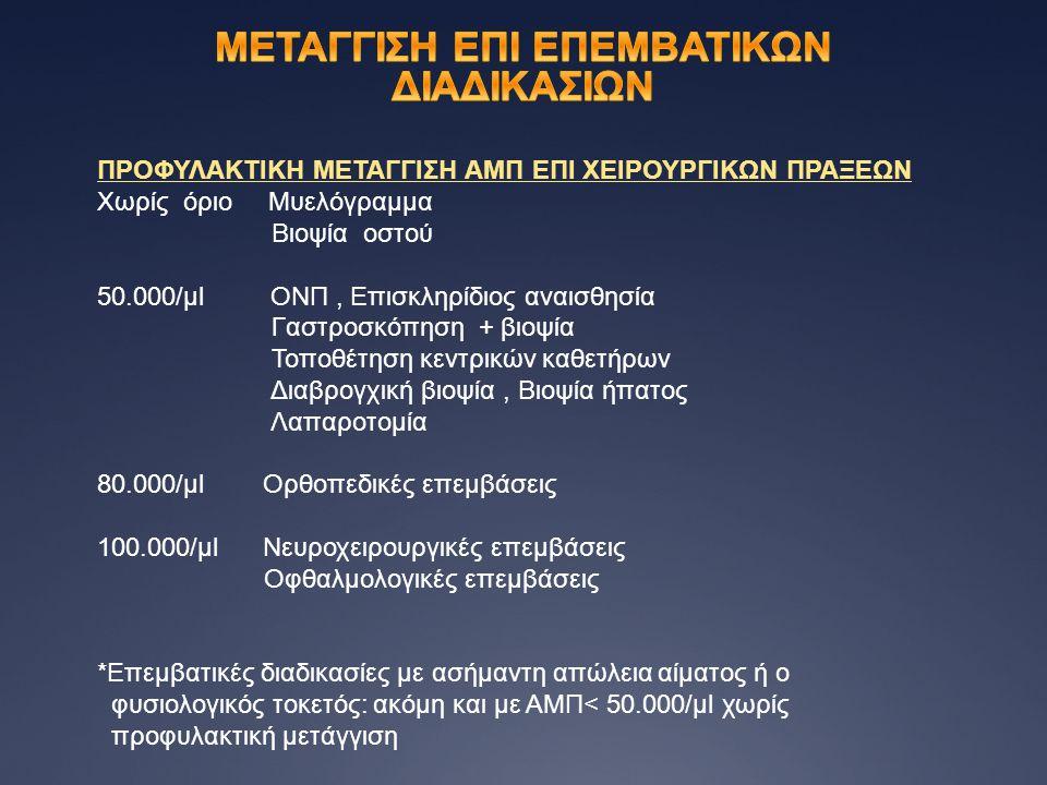 ΠΡΟΦΥΛΑΚΤΙΚΗ ΜΕΤΑΓΓΙΣΗ ΑΜΠ ΕΠΙ ΧΕΙΡΟΥΡΓΙΚΩΝ ΠΡΑΞΕΩΝ Χωρίς όριο Μυελόγραμμα Βιοψία οστού 50.000/μl ΟΝΠ, Επισκληρίδιος αναισθησία Γαστροσκόπηση + βιοψία