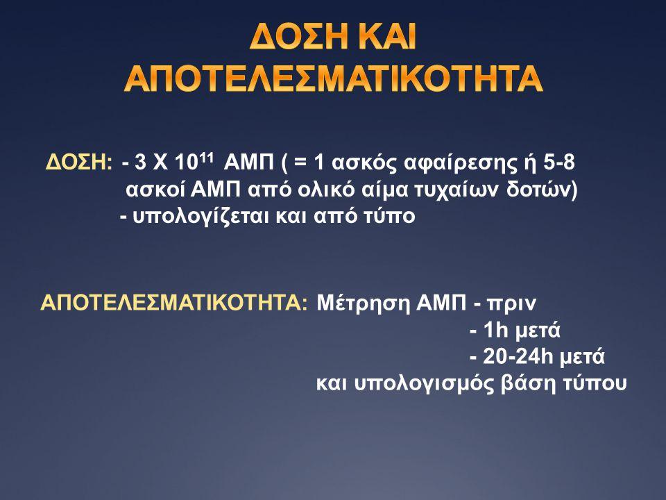 ΔΟΣΗ: - 3 Χ 10 11 ΑΜΠ ( = 1 ασκός αφαίρεσης ή 5-8 ασκοί ΑΜΠ από ολικό αίμα τυχαίων δοτών) - υπολογίζεται και από τύπο ΑΠΟΤΕΛΕΣΜΑΤΙΚΟΤΗΤΑ: Μέτρηση ΑΜΠ