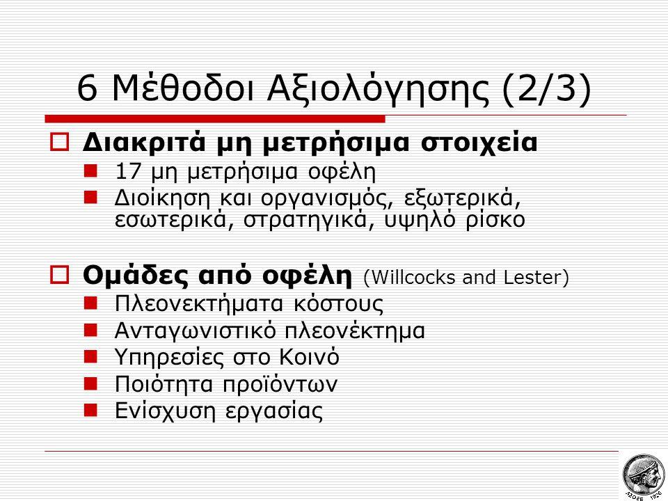 6 Μέθοδοι Αξιολόγησης (2/3)  Διακριτά μη μετρήσιμα στοιχεία  17 μη μετρήσιμα οφέλη  Διοίκηση και οργανισμός, εξωτερικά, εσωτερικά, στρατηγικά, υψηλό ρίσκο  Ομάδες από οφέλη (Willcocks and Lester)  Πλεονεκτήματα κόστους  Ανταγωνιστικό πλεονέκτημα  Υπηρεσίες στο Κοινό  Ποιότητα προϊόντων  Ενίσχυση εργασίας