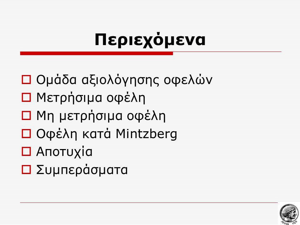 Περιεχόμενα  Ομάδα αξιολόγησης οφελών  Μετρήσιμα οφέλη  Μη μετρήσιμα οφέλη  Οφέλη κατά Mintzberg  Αποτυχία  Συμπεράσματα