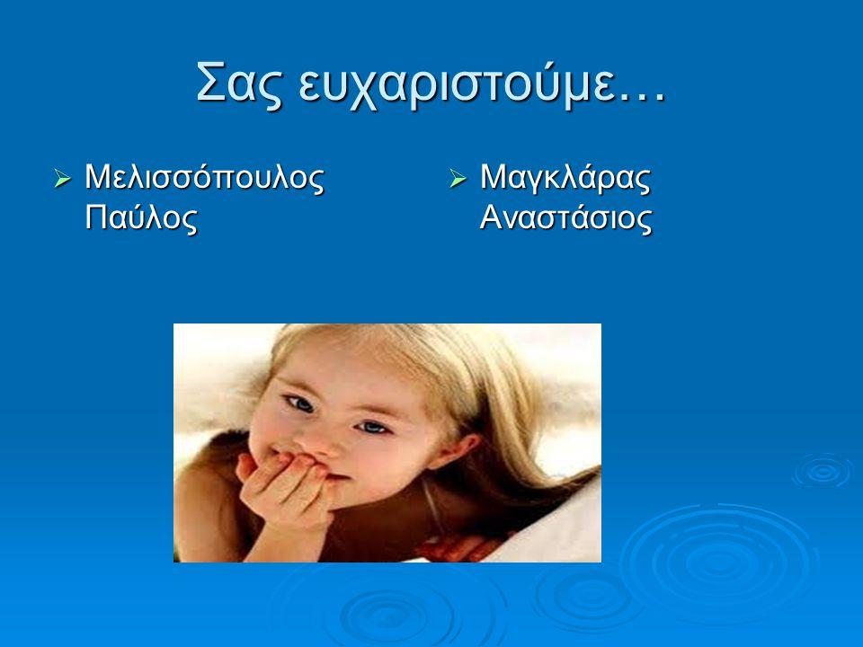 Σας ευχαριστούμε…  Μελισσόπουλος Παύλος  Μαγκλάρας Αναστάσιος