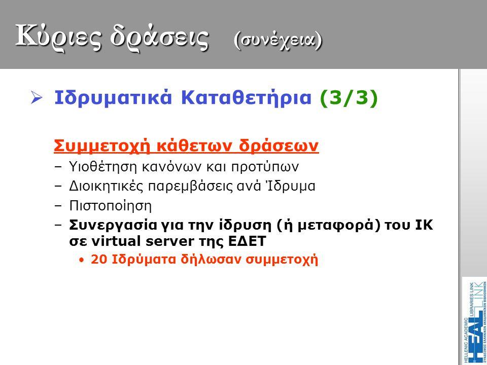 Κύριες δράσεις (συνέχεια)  Ιδρυματικά Καταθετήρια (3/3) Συμμετοχή κάθετων δράσεων –Υιοθέτηση κανόνων και προτύπων –Διοικητικές παρεμβάσεις ανά Ίδρυμα