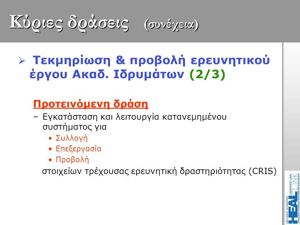 Κύριες δράσεις (συνέχεια)  Τεκμηρίωση & προβολή ερευνητικού έργου Ακαδ. Ιδρυμάτων (2/3) Προτεινόμενη δράση –Εγκατάσταση και λειτουργία κατανεμημένου
