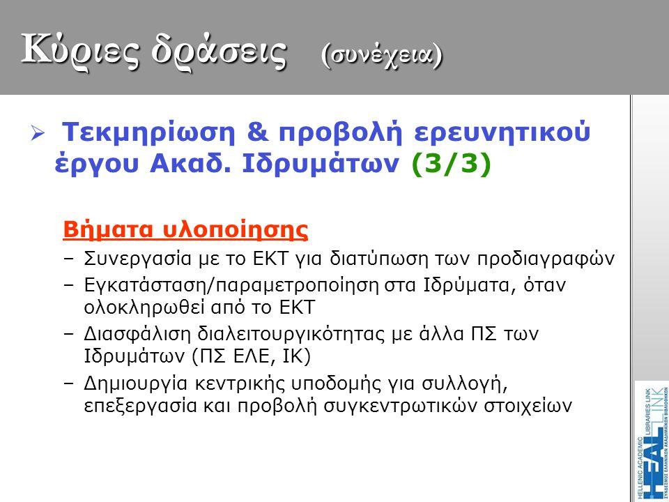 Κύριες δράσεις (συνέχεια)  Τεκμηρίωση & προβολή ερευνητικού έργου Ακαδ. Ιδρυμάτων (3/3) Βήματα υλοποίησης –Συνεργασία με το ΕΚΤ για διατύπωση των προ