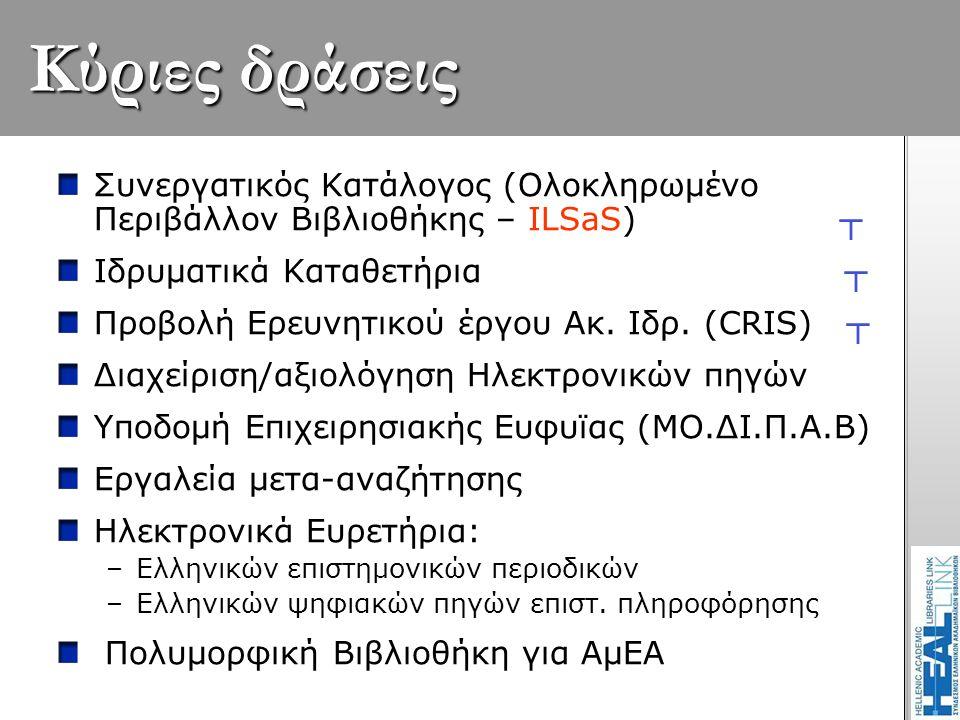 Κύριες δράσεις Συνεργατικός Κατάλογος (Ολοκληρωμένο Περιβάλλον Βιβλιοθήκης – ILSaS) ┬ Ιδρυματικά Καταθετήρια ┬ Προβολή Ερευνητικού έργου Ακ. Ιδρ. (CRI
