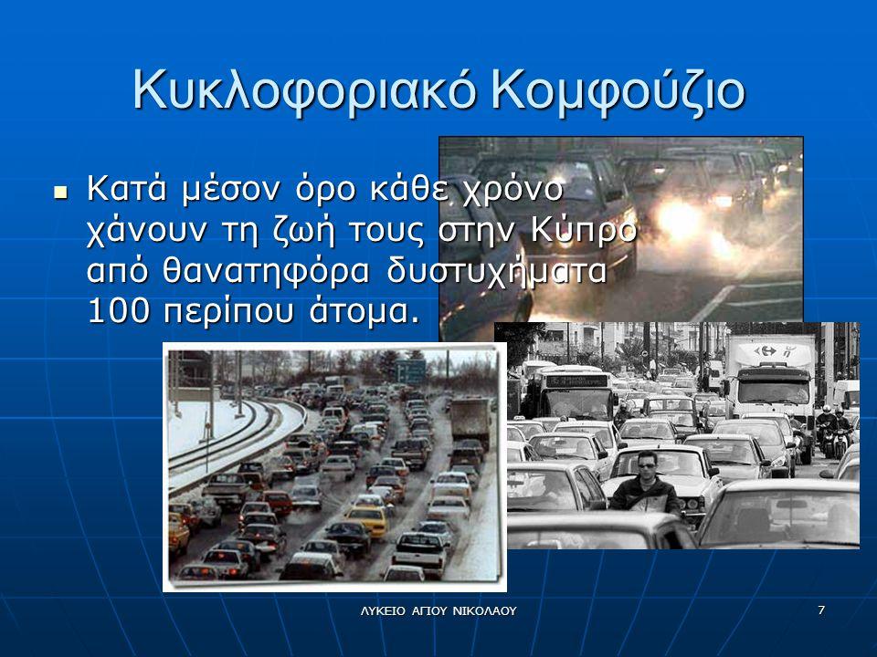 ΛΥΚΕΙΟ ΑΓΙΟΥ ΝΙΚΟΛΑΟΥ 7 Κυκλοφοριακό Κομφούζιο  Κατά μέσον όρο κάθε χρόνο χάνουν τη ζωή τους στην Κύπρο από θανατηφόρα δυστυχήματα 100 περίπου άτομα.