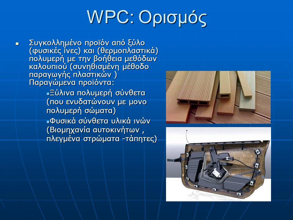 WPC: Ορισμός  Συγκολλημένο προϊόν από ξύλο (φυσικές ίνες) και (θερμοπλαστικά) πολυμερή με την βοήθεια μεθόδων καλουπιού (συνηθισμένη μέθοδο παραγωγής