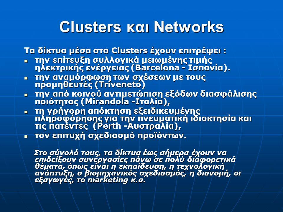 Clusters και Networks Τα δίκτυα μέσα στα Clusters έχουν επιτρέψει :  την επίτευξη συλλογικά μειωμένης τιμής ηλεκτρικής ενέργειας (Barcelona - Ισπανία