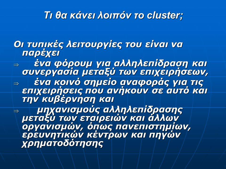 Τι θα κάνει λοιπόν το cluster; Οι τυπικές λειτουργίες του είναι να παρέχει  ένα φόρουμ για αλληλεπίδραση και συνεργασία μεταξύ των επιχειρήσεων,  έν
