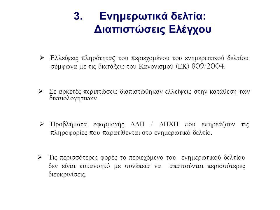 3.Ενημερωτικά δελτία: Διαπιστώσεις Ελέγχου  Σε αρκετές περιπτώσεις διαπιστώθηκαν ελλείψεις στην κατάθεση των δικαιολογητικών.